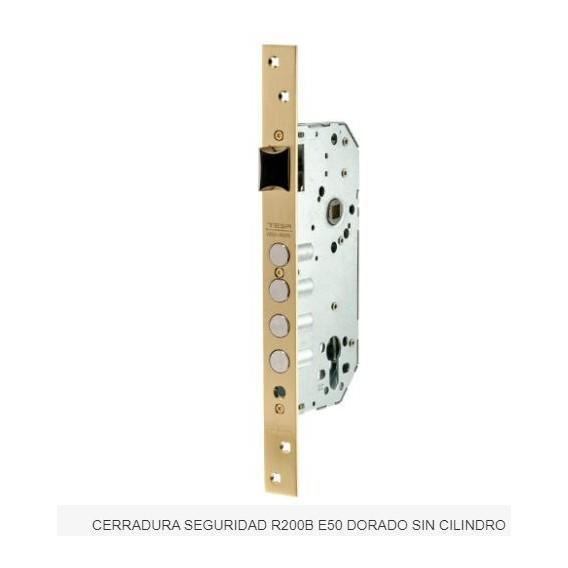 Cerradura Seguridad R200B E50 Dorada sin Cilindro