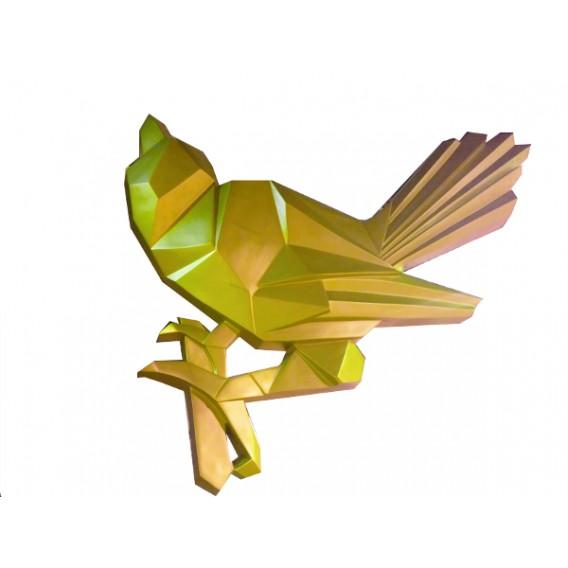 Escultura pájado dorado
